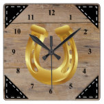 Faux Rustic Wood Background and Horseshoe Square Wall Clock