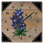 Faux Rustic Wood Background and Texas Bluebonnet Square Wall Clock