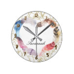 Geometric Gold Shape & Boho Feather Heart Custom Round Clock