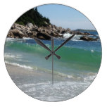 rocky coastline ocean surf large clock
