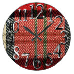 Traditional Tapestry Plaid Design Large Clock
