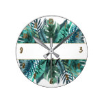 Tropical Plants Botanical Leaves Tropics Chic Round Clock