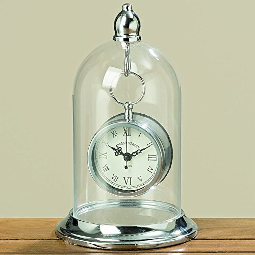 The Bond Street Clock in a Dome, Vintage Style Table Top Time Piece, Knob Top Hanger, Glass Cloche Bell Jar Top, Polished Silver Iron, 1 AA Battery Required, By Whole House Worlds