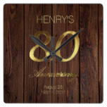 80th Birthday Anniversary Elegant Gold Rustic Wood Square Wall Clock