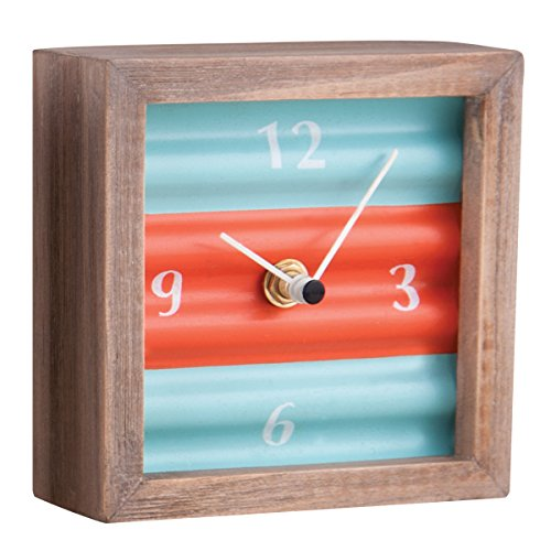 Foreside FCTT00272 Corrugated Table Top Clock, Blue
