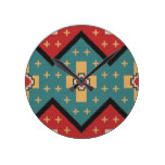 American Southwest Indian Pattern Round Clock