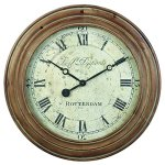 Derby Rotterdam Decorative Wall Clock, Vintage Unique Wall Clock for Outdoor and Home Decor, Natural Wood