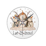 Christmas Snowman Rustic Country Primitive Winter Round Clock