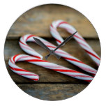 Chrstmas Candy Canes on Vintage Wood Large Clock