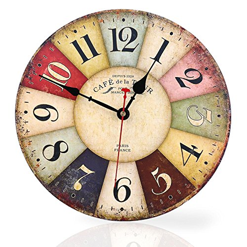 Soledi Wall Clock Decal, 12″ Vintage France Paris Colorful Country Tuscan Style Wood Wall Clock