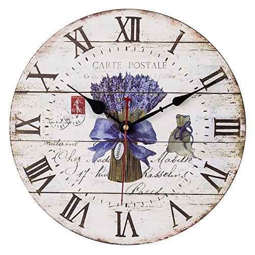 SkyNature Large Decorative Wooden Wall Clock with Roman Numerals for Lover (12 inch Lavender)