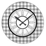 Gray And White Gingham Large Clock