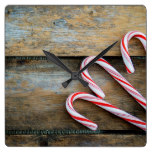 Rustic Wood with Christmas Candy Canes Square Wall Clock