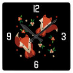 Rustic Woodland Animal Fox Pattern on Black Square Wall Clock