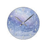 Winter Forest Pine Trees Snowflakes Snowy Woods Round Clock