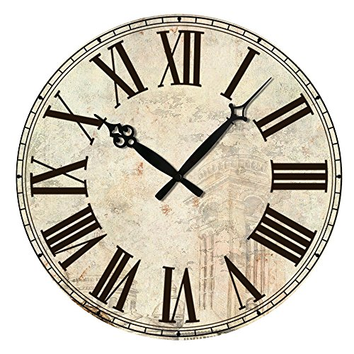 Edxtech Vintage Style Rustic Wooden Wall Clock Home Antique Shabby Chic Retro Decors