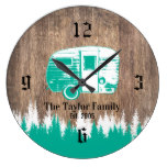 Camping Trailer Happy Campers Family Name Wooden Large Clock