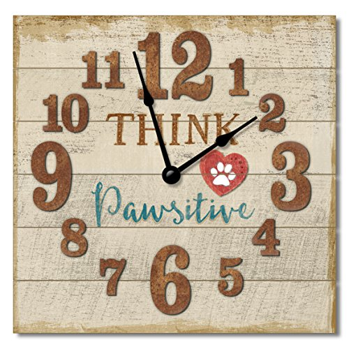 Think Pawsitive 12″ Rustic Antique Wall Clock Made in USA from Reclaimed Wood Slats