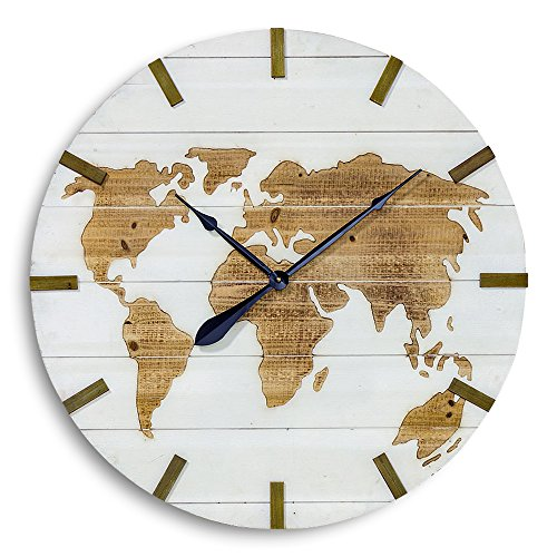 The World Map Clock, Over 2 Ft in Diameter, Rustic Modern Style, Incised Natural Wood, White Shiplap Planks, Battery Operated, 29 Inches in Diameter, Requires 1 AA Battery, By Whole House Worlds