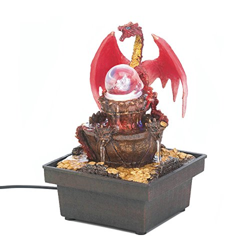 Medieval Red Dragon Tabletop Water Fountain