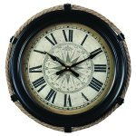 Derby Compass Decorative Wall Clock, Vintage Unique Wall Clock for Outdoor and Home Decor, Black – Small