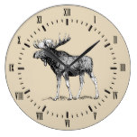 Rustic Country Moose & Taupe Large Clock