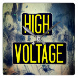 Rustic High Voltage Warning Sign – FUNNY Square Wall Clock
