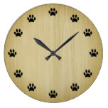 Black Paw Prints as Numbers Rustic Wood Background Large Clock