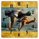 Ducks flying over the sea With a small boat below Square Wall Clock