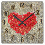 Red & Gold Heart Glam Rustic Love Rustic Valentine Square Wall Clock