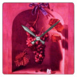 SEASON'S FRUITS HANGED GRAPES Antique Pink Rustic Square Wall Clock