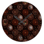 Steam Punk Gears Modern Retro Abstract Pattern Large Clock