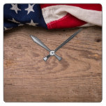 Vintage American Flag Border Square Wall Clock
