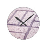 Walking Bricks City Red Cement Texture Mineral Round Clock