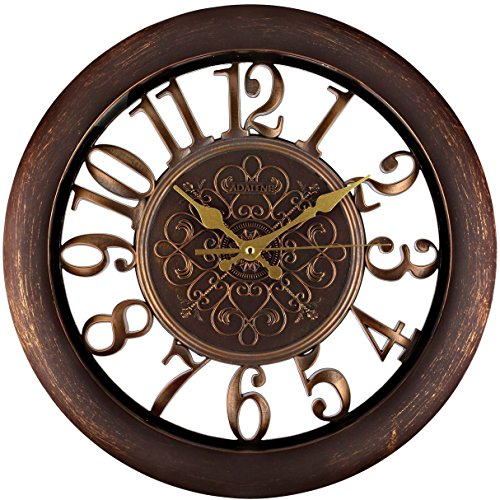 Adalene Wall Clocks Large Modern – Battery Operated Non Ticking 13 Inch Elegant Wall Clock Silent, Quiet Analog Quartz Home Decor Vintage Decorative Wall Clock For Living Room, Kitchen, Rustic Brown