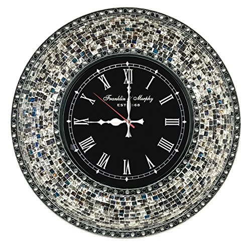 DecorShore 22.5″ Mosaic Wall Clock, Decorative Round Wall Clock (Fired Silver)