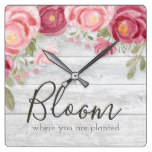 Barnwood with Watercolor Peonies Square Wall Clock