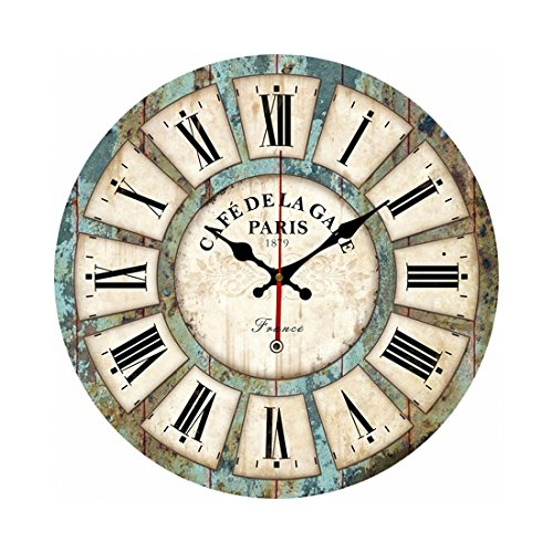 Wall Clock, Yamix Roman Numeral Design 12″ Silent Wooden Wall Clock Home Decorative Round Wall Clock Vintage France Paris French Country Tuscan Style