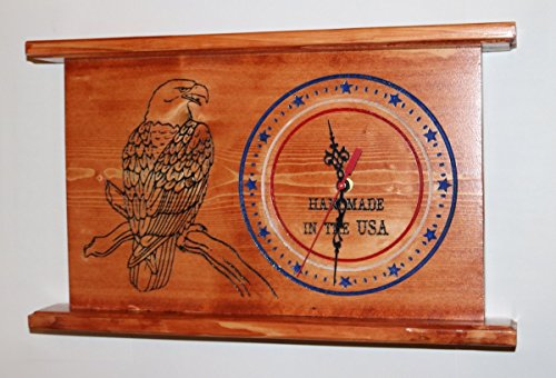 CNC Engraved American Eagle USA Clock Personalized Wall or Mantel