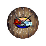 Happy Campers Retirement RV Camping Rustic Wood Round Clock