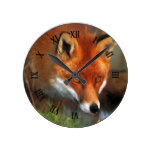 Hunting Red Fox Oil Painting Art Round Clock
