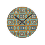 Teal Turquoise Orange Brown Eclectic Ethnic Look Round Clock