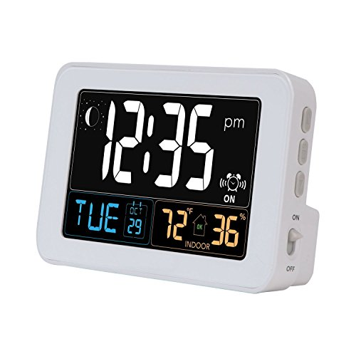 Intelli-Time Alarm Clock with USB Charger, Indoor Temperature and Humidity