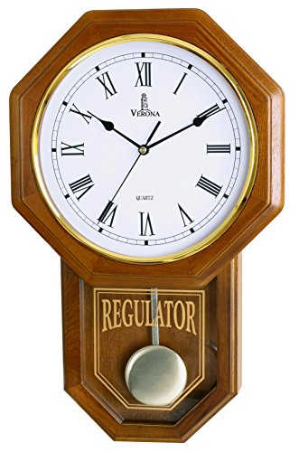 Verona Traditional Wood Pendulum Wall Clock with Glass Front – Elegant & decorative clock with light brown finish – 18 x 11.25 x 2.75 inch – Quartz movement, battery operated & non-chiming