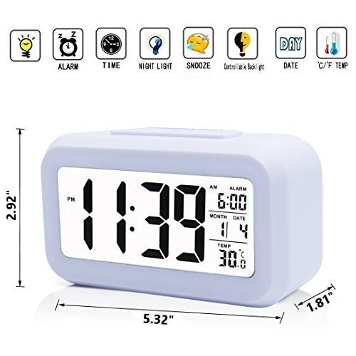 iProtect Battery Operated Small Digital Alarm Clock – Perfect for the Bedroom, Kitchen, Desk, Table, Bedside or for Travel with Extra Large Display, Snooze, Date, Temperature and Light Sensor in White