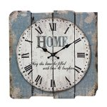 Stonebriar Square 15″ Rustic Farmhouse Worn Blue and White Roman Numeral Wall Clock, Shabby Chic and DIY Home Decor Accents for the Kitchen, Living Room, and Bedroom, Battery Operated