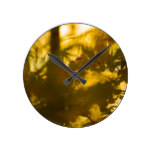 Abstract Autumn Leaves Pattern Round Clock