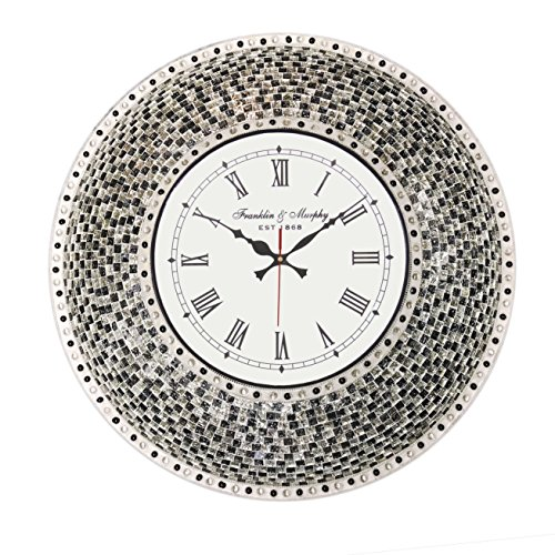 22.5″ Black, Handmade Glass Mosaic Wall Clock, Quiet Motion Design by DecorShore