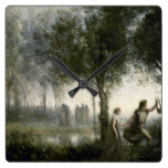 Camille Corot – Orpheus Leading Eurydice Square Wall Clock