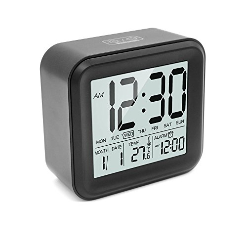 HeQiao Slim Digital Clock Large LCD Travel Alarm Clock with Calendar Battery Operated for Home Office (Temperature Display, Snooze Function) Black